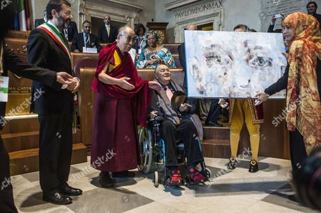 Mayor of Rome Ignazio Marino, Dalai Lama, Tawakel Karman Nobel Peace Prize with the director Bernardo Bertolucci winner of Peace Summit Award 2014
