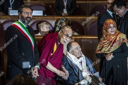 Mayor of Rome Ignazio Marino. Dalai Lama and Nobel Peace Prize Tawakel Karman with the director Bernardo Bertolucci winner of Peace Summit Award 2014