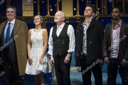 Vincenzo Nicoli (Duke of Venice), Susannah Fielding (Portia), Ian McDiarmid (Shylock), Tom Weston-Jones (Bassanio) and Anthony Welsh (Gratiano)