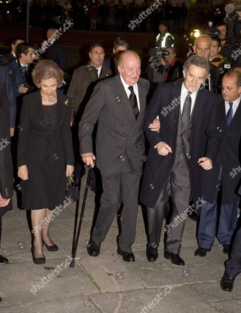 Stock Picture of Alfonso Diez, King Juan Carlos and Former Queen Sofia