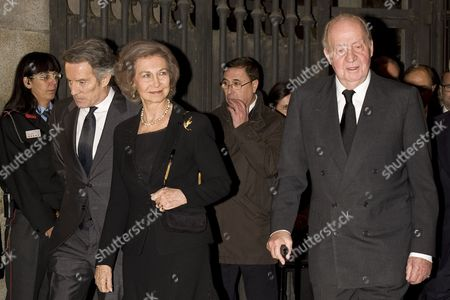 Stock Photo of Alfonso Diez, King Juan Carlos and Former Queen Sofia