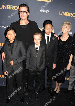 Brad Pitt with children Pax Jolie-Pitt, Shiloh Jolie-Pitt, Maddox Jolie-Pitt, and his mother Jane Pitt