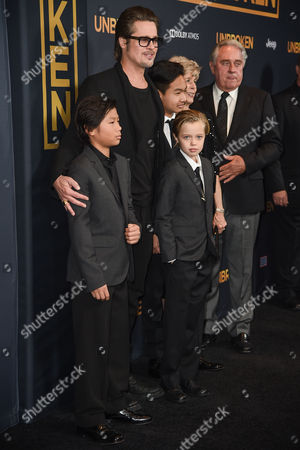 Brad Pitt and children Pax Jolie-Pitt, Shiloh Jolie-Pitt and Maddox Jolie-Pitt, Bill Pitt, Jane Pitt