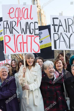 Editorial picture of Equal Pay photocall outside the Houses of Parliament, London, Britain - 16 Dec 2014