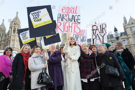 Editorial photo of Equal Pay photocall outside the Houses of Parliament, London, Britain - 16 Dec 2014