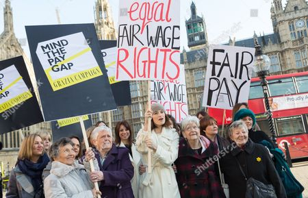 Editorial image of Equal Pay photocall outside the Houses of Parliament, London, Britain - 16 Dec 2014