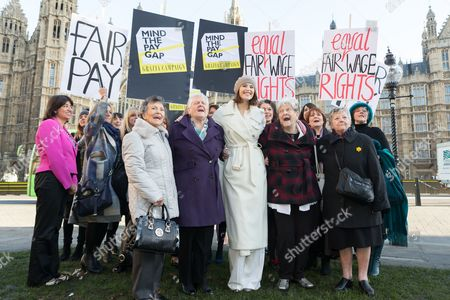 Stars from the cast of hit musical 'Made in Dagenham': Gemma Arterton, Isla Blair, Sophie Louise Dann, Sophie Stanton, Sophie Isaacs joined Gloria de Piero, Shadow Minister for Women and Equalities, Jane Bruton, Editor in Chief of Grazia and women from the original Dagenham equal pay strike: Gwen Davis, Sheila Douglass, Vera Sime