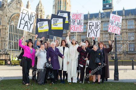 Stock Photo of Stars from the cast of hit musical 'Made in Dagenham': Gemma Arterton, Isla Blair, Sophie Louise Dann, Sophie Stanton, Sophie Isaacs joined Gloria de Piero, Shadow Minister for Women and Equalities, Jane Bruton, Editor in Chief of Grazia and women from the original Dagenham equal pay strike: Gwen Davis, Sheila Douglass, Vera Sime