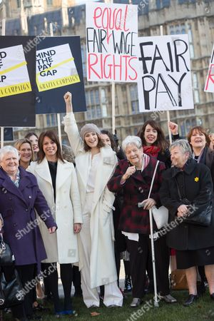 Stock Image of Stars from the cast of hit musical 'Made in Dagenham': Gemma Arterton, Isla Blair, Sophie Louise Dann, Sophie Stanton, Sophie Isaacs joined Gloria de Piero, Shadow Minister for Women and Equalities, Jane Bruton, Editor in Chief of Grazia and women from the original Dagenham equal pay strike: Gwen Davis, Sheila Douglass, Vera Sime