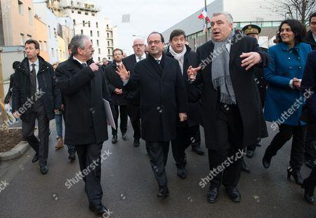 Francois Hollande, Patrick Kanner, Frederic Cuvillier and Myriam El Khomri