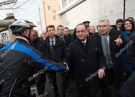 Francois Hollande, Frederic Cuvillier and Myriam El Khomri