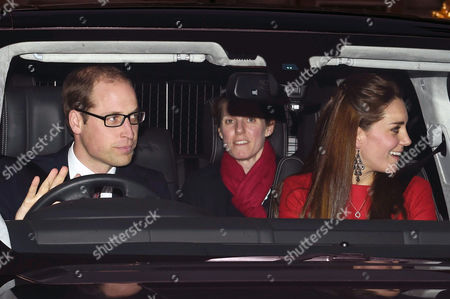 Prince William and Catherine Duchess of Cambridge with nanny Maria Teresa Turrion Borrallo in the back