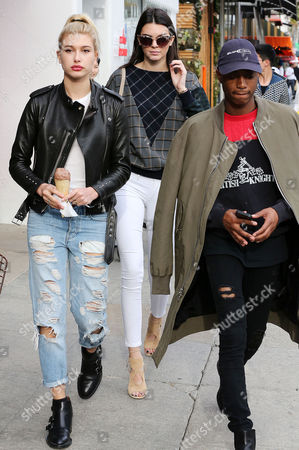 Stock Picture of Hailey Baldwin, Kendall Jenner and friend Shamari Maurice