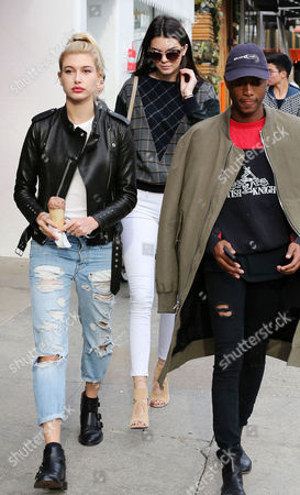Stock Image of Hailey Baldwin, Kendall Jenner and friend Shamari Maurice