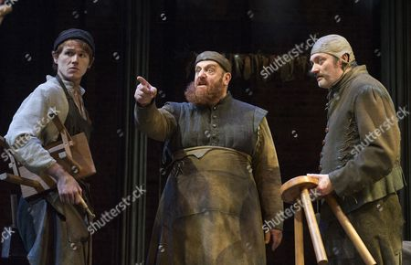Stock Picture of Joel McCormack as Firk, David Troughton as Simon Eyre, Michael Hodgson as Hodge