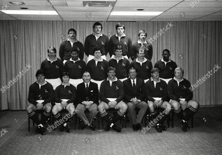 The South Africa team -  Errol Tobias and Avril Williams, the first two black men to play for the Springboks, are pictured, respectively, far right end of the middle-row, and second left middle-row. The other players, in no particualr order, are: Johan Heunis, Danie Gerber, John Villet, Carel du Plessis, Divan Serfontein, Ockie Oosthuizen, Chris Rogers, Hempies du Toit, Schalk Burger, Rudi Visagie, Rob Louw, Theuns Stofberg (captain), Gerrie Sonnekus.