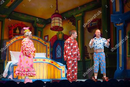 Gary Wilmot (Dame Trot), Paul Zerdin (Simple Simon) and Matt Slack (Silly Billy)
