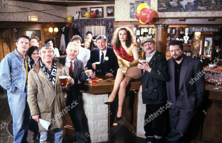 Emmerdale 1991 Ep 1541 Famous Face The Re-opening of the Woolpack Tracy [Jayne Ashbourne] with Archie Brooks [Tony Pitts], Zoe Tate [Leah Bracknell], Bill Middleton [Johnny Caesar], Eric Pollard [Christopher Chittell], Alan Turner [ Richard Thorp], Seth Armstrong [Stan Richards] and Charlie Aindow [David Fleeshman]