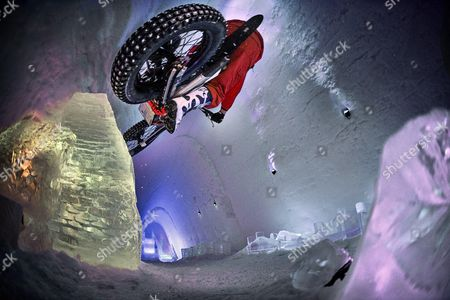 Dougie Lampkin performs during Tundra Trial in the Snow Village