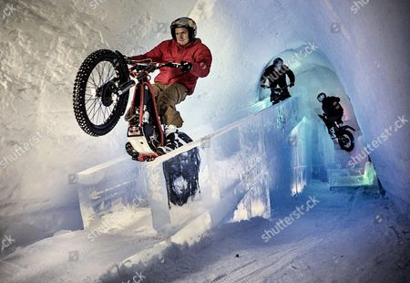 Dougie Lampkin performs during the Tundra Trial in the Snow Village