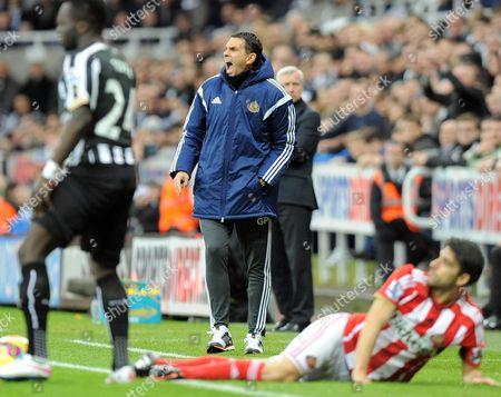 Manager of Sunderland Gustavo Poyet goes mad after Cheik Tiote of Newcastle United fouls Jordi Gomez of Sunderland