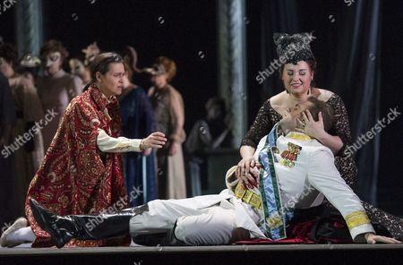 Serena Gamberoni as Iscar, Joseph Calleja as Riccardo, Liudmyla Monastyrska as Amelia