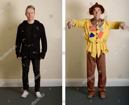 Adam Booth who plays Scarecrow is photographed before and after make-up before going on stage in the pantomime 'The Chuckles of Oz' at Darlington Civic Theatre.