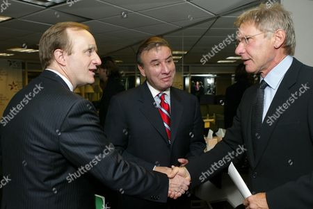 Paul Begala, Ralph G. Neas and Harrison Ford