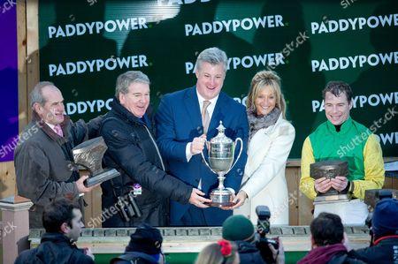 Trainer Tony Martin, Owner John Breslin with his wife Debbie, Jockey Denis O'Regan and Patrick Kennedy of Paddy Power