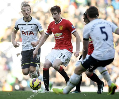 Stock Photo of Harry Kane of Tottenham Hotspur and Patrick McNair of Manchester United
