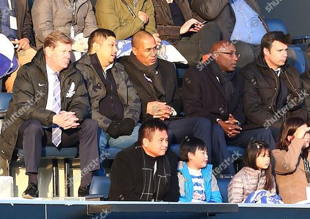 QPR Head of Football operations Les Ferdinand watches in the stands alongside CEO Philip Beard, Shareholder Ruben Emir Gananalingam and his fellow former Tottenham Hotspur coach Chris Ramsey