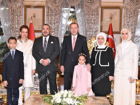King Mohammed VI of Morocco, accompanied by their Royal Highnesses Crown Prince Moulay El Hassan, Princess Lalla Khadija and Princess Lalla Salma with the family of Turkish president Recep Tayyip Erdogan his wife Emine Erdogan and daughter Sumeyye Erdogan.