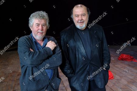 HARRISON BIRTWISTLE AND SIR PETER HALL AT THE OLIVIER THEATRE, LONDON, BRITAIN