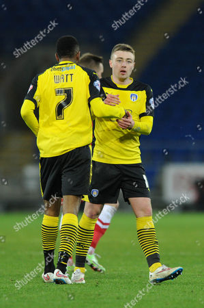 Stock Image of Colchester United's Freddie Sears celebrates his goal with Colchester United's Sanchez Watt .