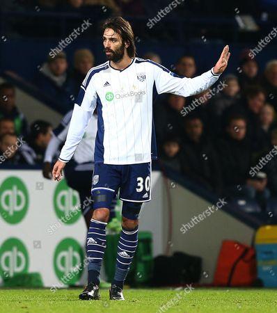 Georgios Samaras of West Bromwich Albion gestures