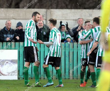 Robert Dale of Blyth Spartans (left) celebrates scoring their second goal with team mates