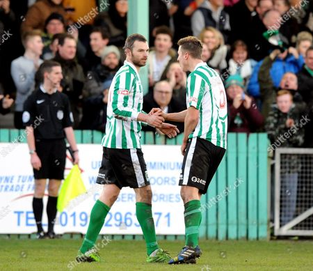 Robert Dale of Blyth Spartans (left) celebrates scoring their first goal with Nathan Buddle of Blyth Spartans