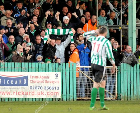 Robert Dale of Blyth Spartans gestures to the crowd as he celebrates scoring their first goal