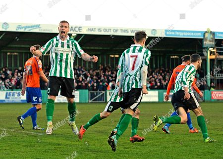 Daniel Hawkins of Blyth Spartans (left) celebrates their first goal scored by Robert Dale of Blyth Spartans (right)