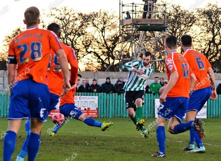 Robert Dale of Blyth Spartans scores their first goal