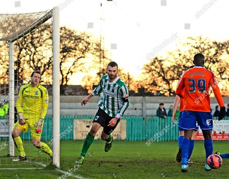 Robert Dale of Blyth Spartans celebrates scoring their first goal