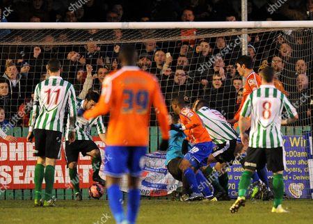 Wesley Thomas of Birmingham City (centre) scores their third goal