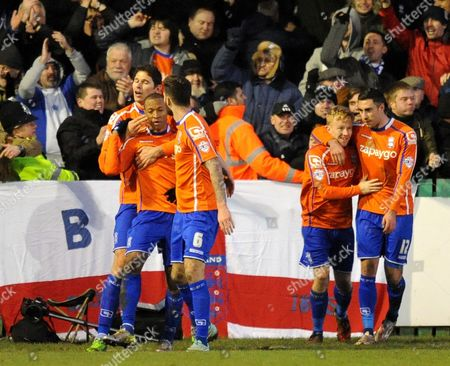 Wesley Thomas of Birmingham City celebrates scoring their third goal with team mates