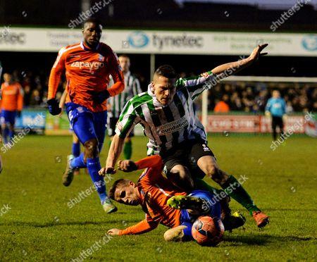 Mitch Hancox of Birmingham City tackles Clayton Donaldson of Birmingham City
