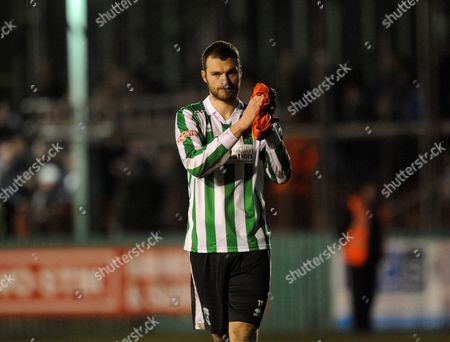 Robert Dale of Blyth Spartans applauds the fans after the final whistle
