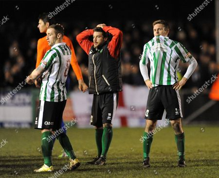 Daniel Hawkins of Blyth Spartans (left) and Stephen Turnbull of Blyth Spartans are dejected after the final whistle