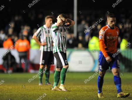 Daniel Hawkins of Blyth Spartans is dejected after the final whistle