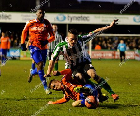 Mitch Hancox of Birmingham City tackles Daniel Maguire of Blyth Spartans