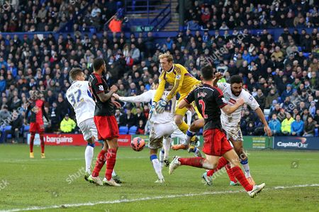 Gerhard Tremmel of Swansea City looses the ball under pressure from Shamir Fenelon of Tranmere Rovers