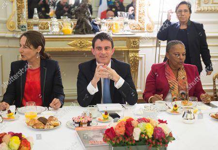 French Minister for Ecology, Sustainable Development and Energy, Segolene Royal, French Prime Minister, Manuel Valls and French Justice minister, Christine Taubira meet for breakfast